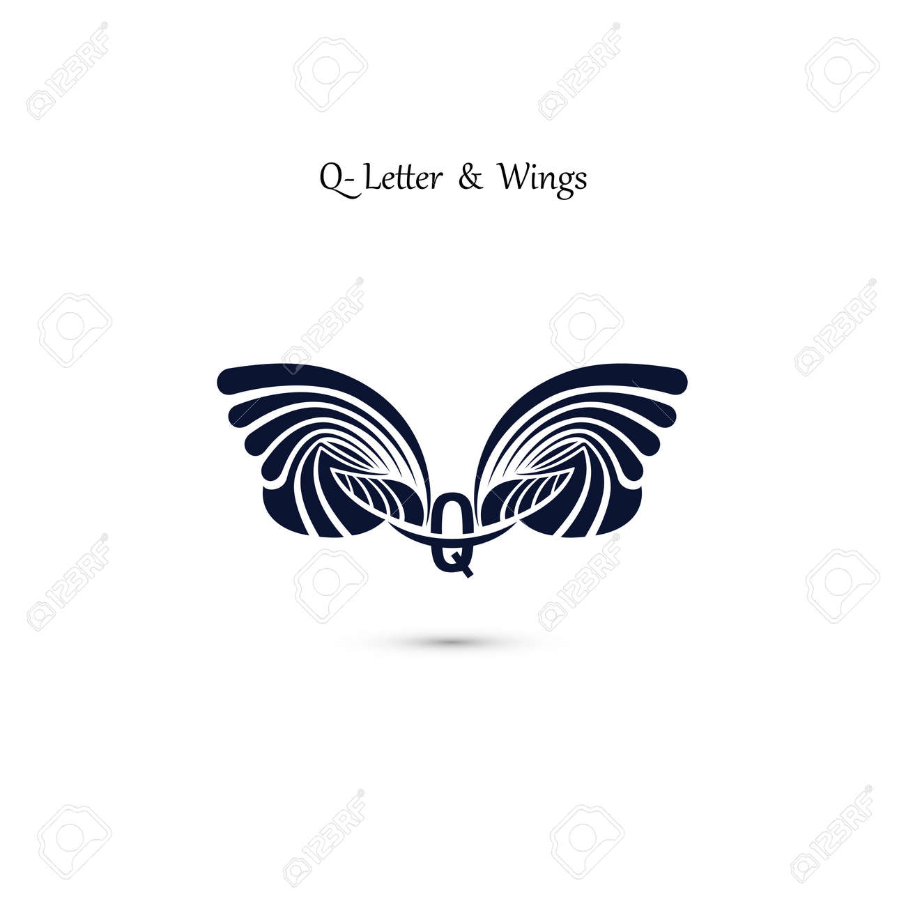 q letter sign and angel wingsmonogram wing vector logo templateclassic emblem