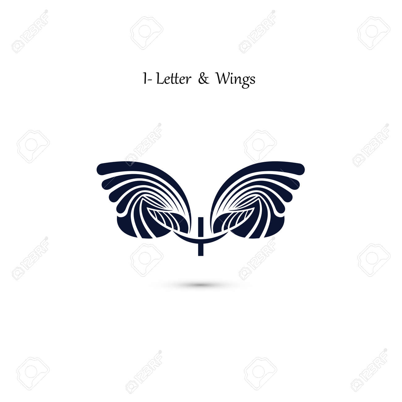 i letter sign and angel wingsmonogram wing vector logo templateclassic emblem