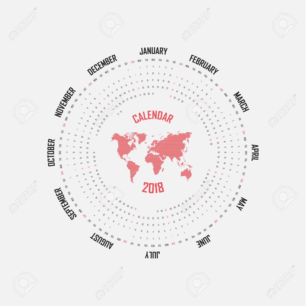 2018 template circle カレンダー カレンダー テンプレートです