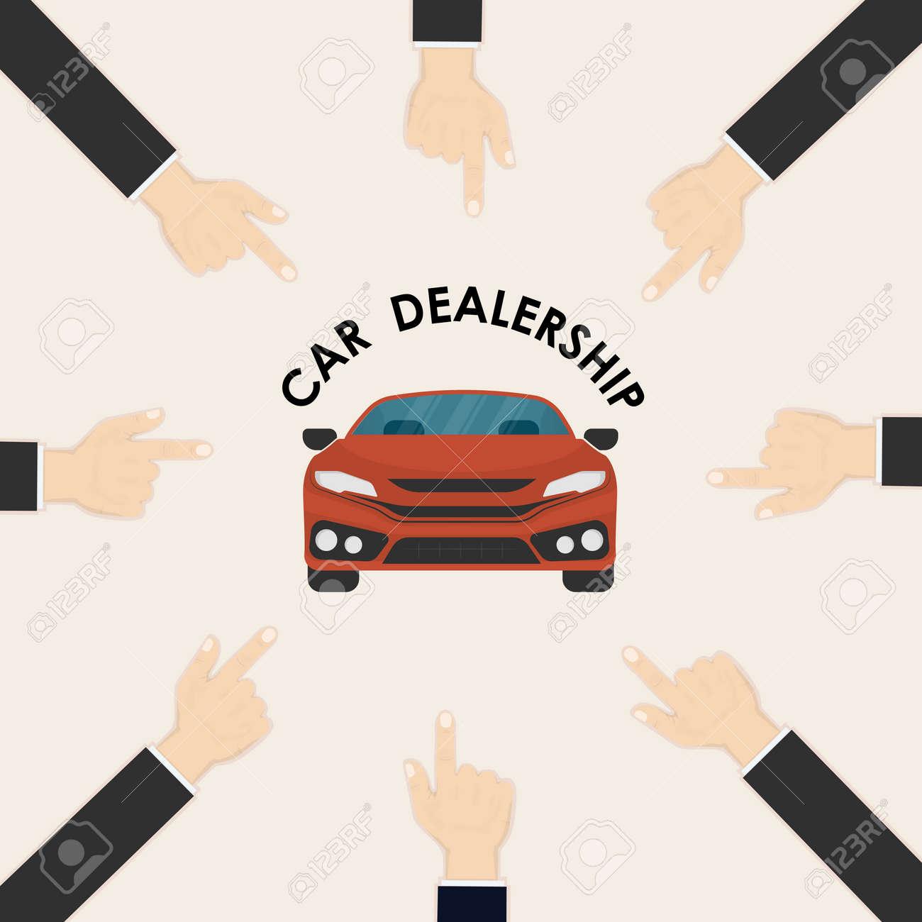 Car And Human Hand Sign Car Dealership Logo Vector Design Template