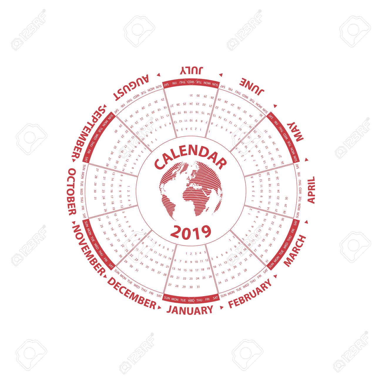 2019 Calendar Template Circle Calendar Template Calendar 2019