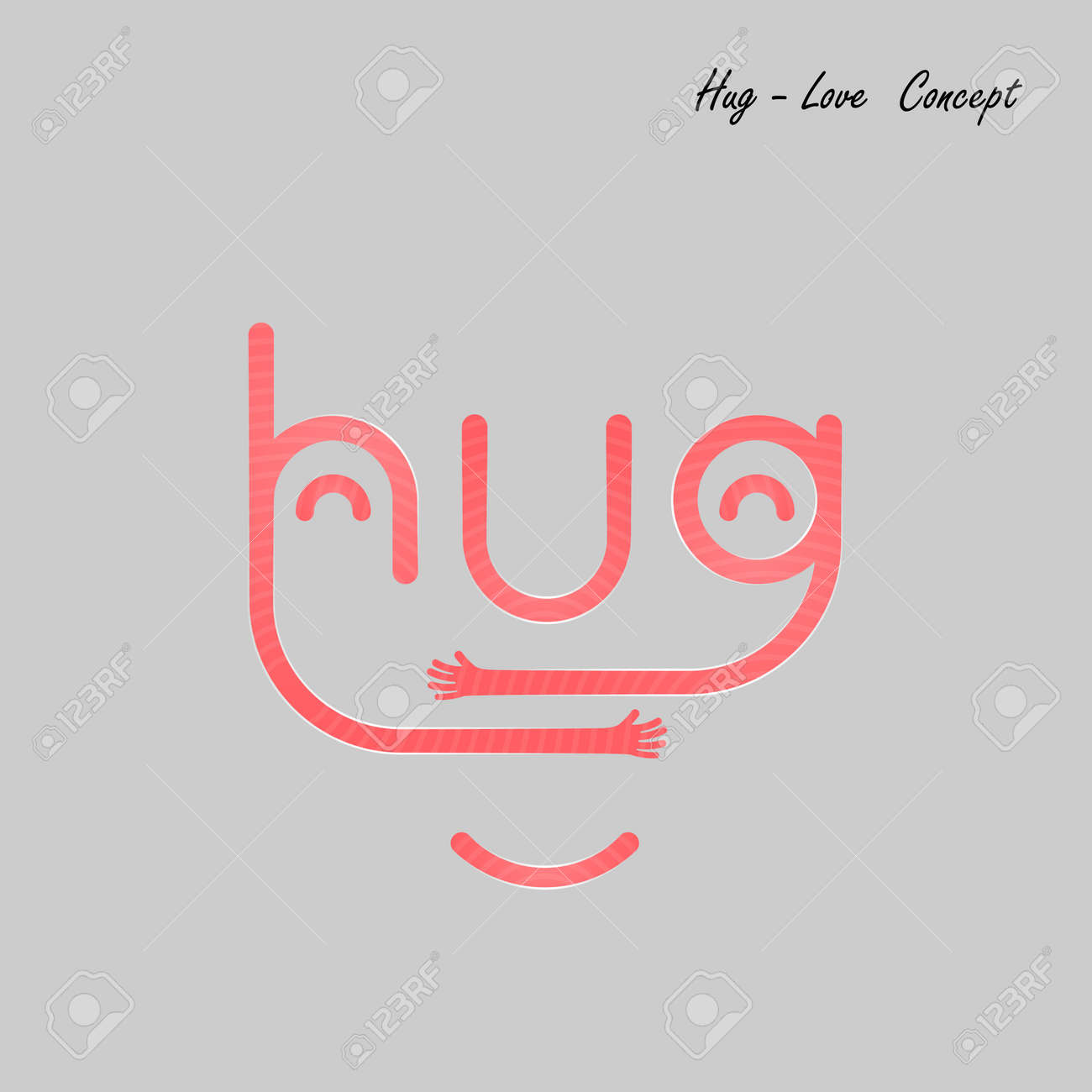 Hug Typographical And Hand Iconembrace Or Hug Icons Vector