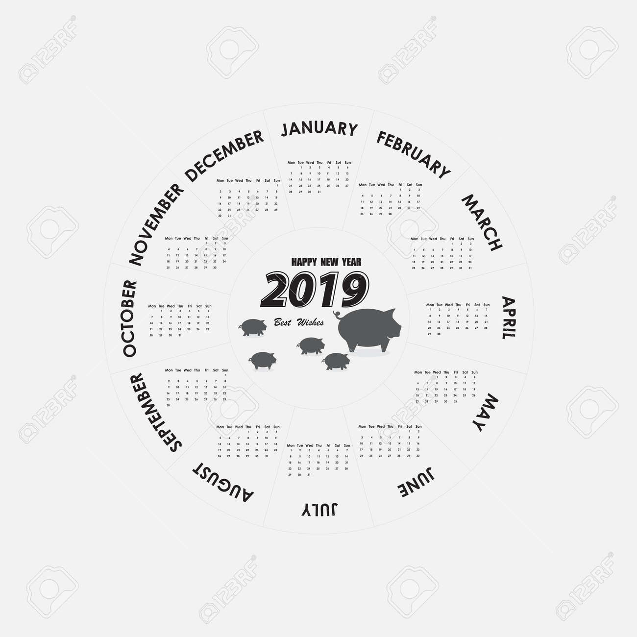 happy new year 2019 2019 calendar templatecircle calendar templatecalendar 2019 set of 12 monthsstarts
