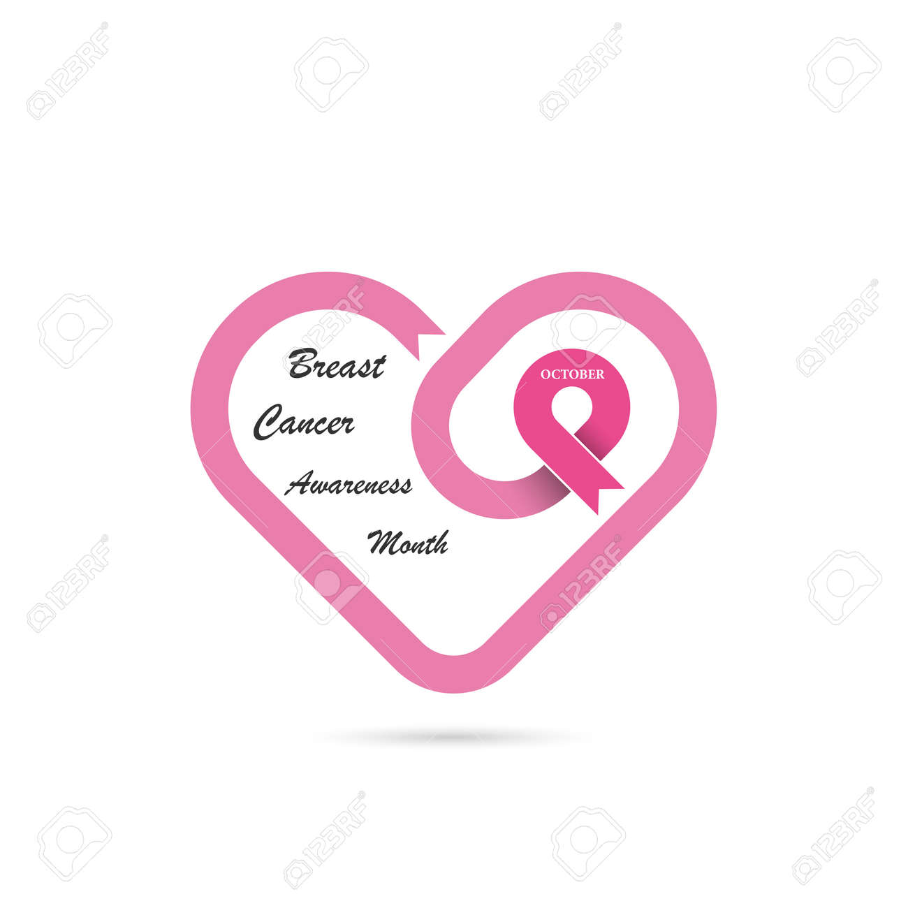 a659dbd6930 Heart shape & Pink Ribbon icon.Breast Cancer October Awareness..