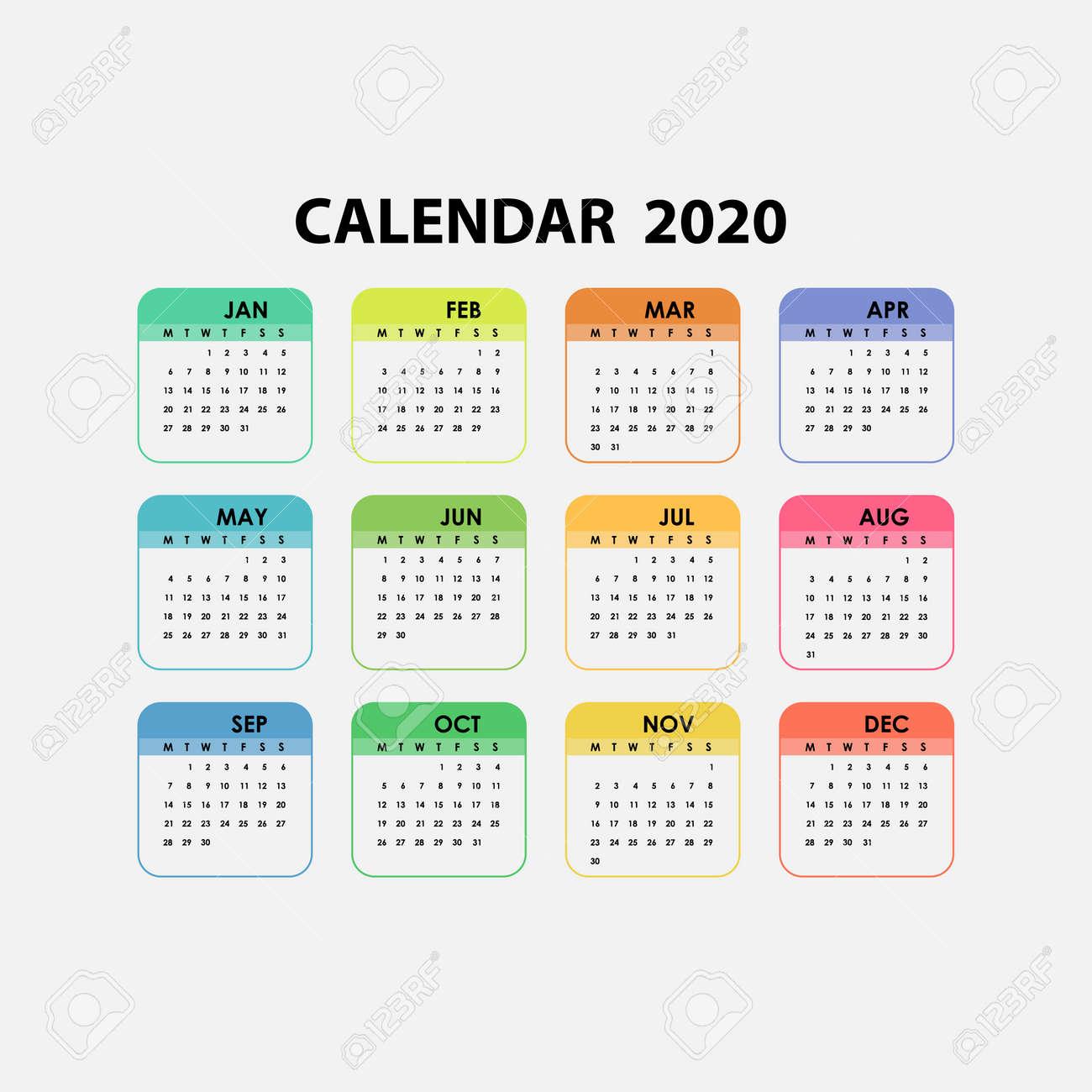 Calendar 2020.2020 Calendar Template Calendar 2020 Set Of 12 Months Yearly