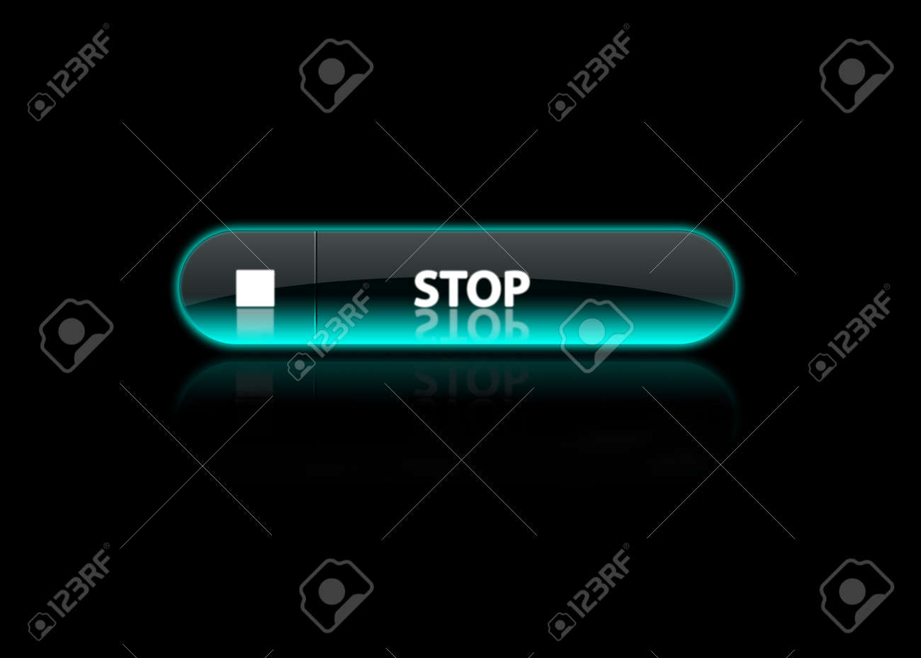 one neon blue button Stop, black background Stock Photo - 3074426