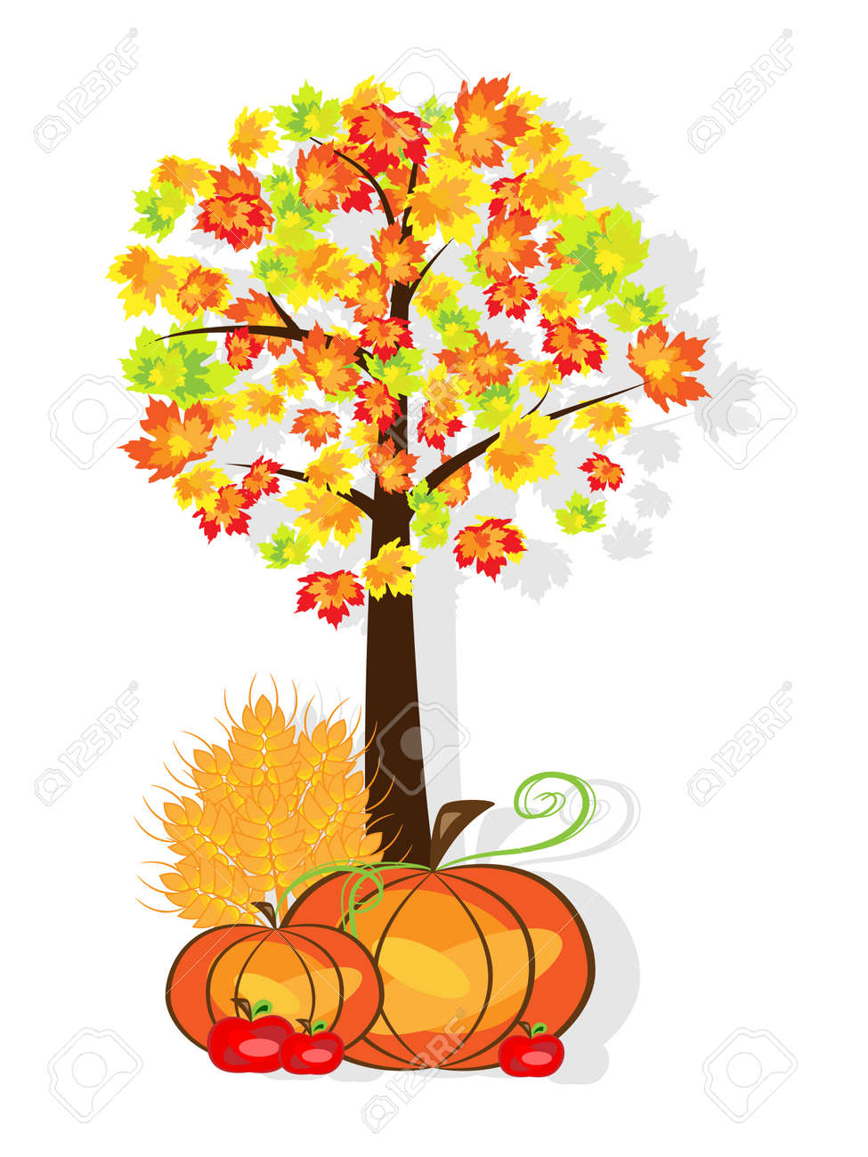Vector picture of thanksgiving background with pumpkins, crop, apples and tree. RGB Stock Vector - 8196656