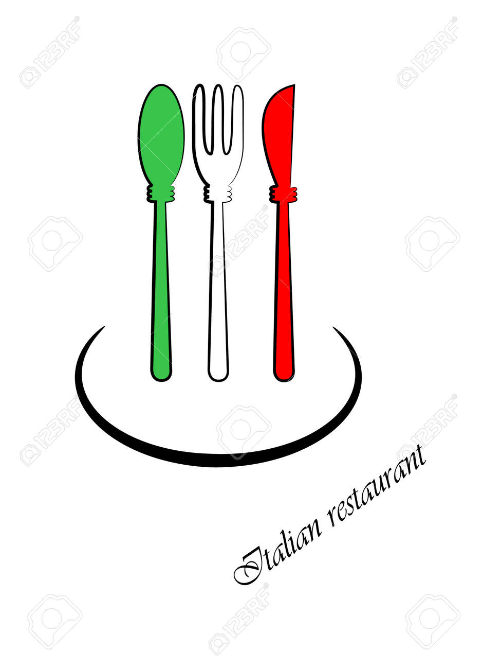 Picture Of Spoon Fork And Knife Colors Of Italian Flag Royalty