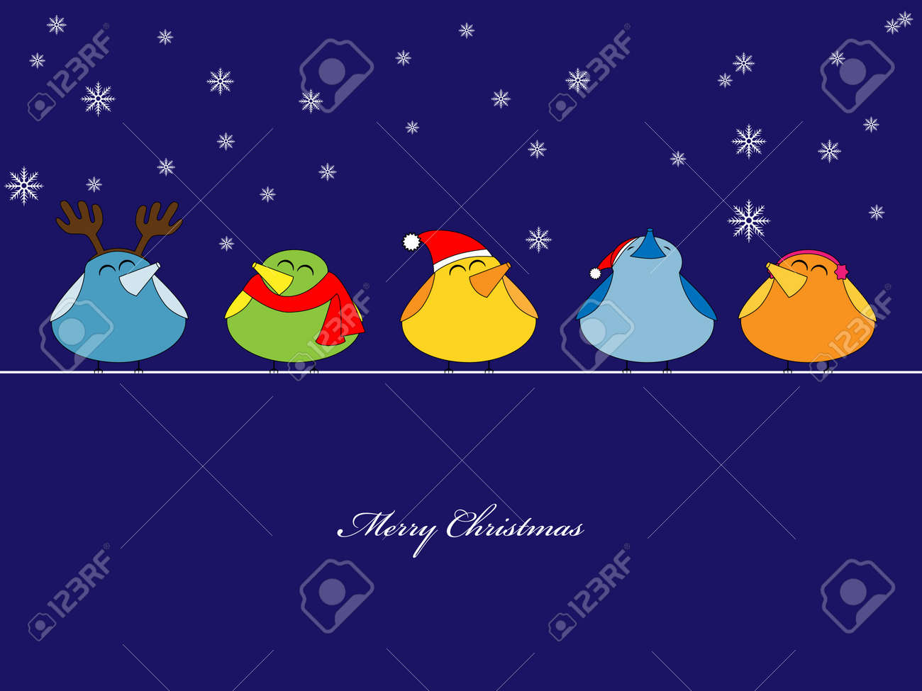 picture of birds singing christmas songs on blue background Stock Vector - 8265625