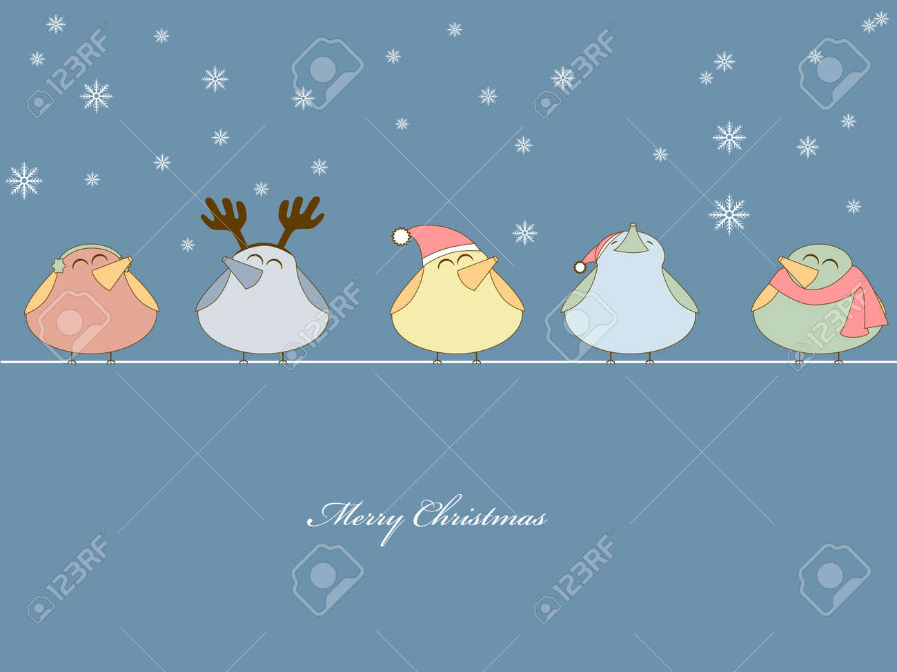 picture of birds singing christmas songs on blue background Stock Vector - 8265624