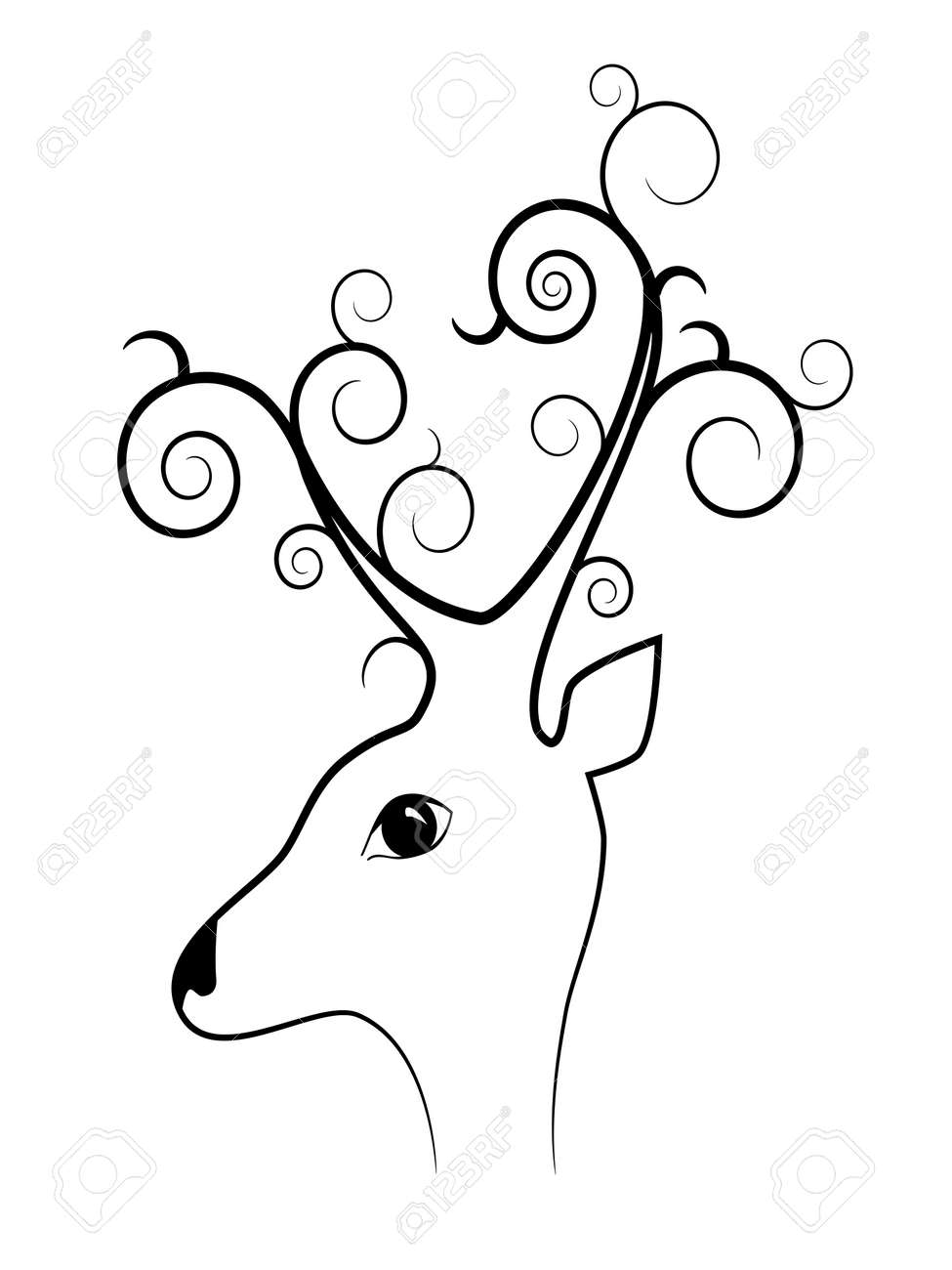 picture about black silhouette of deer Stock Vector - 8265645