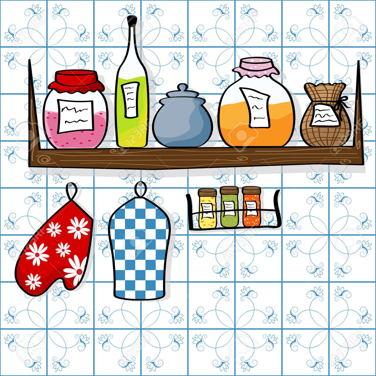 picture of kitchen shelf with bottles and jam jars Stock Vector - 8265679