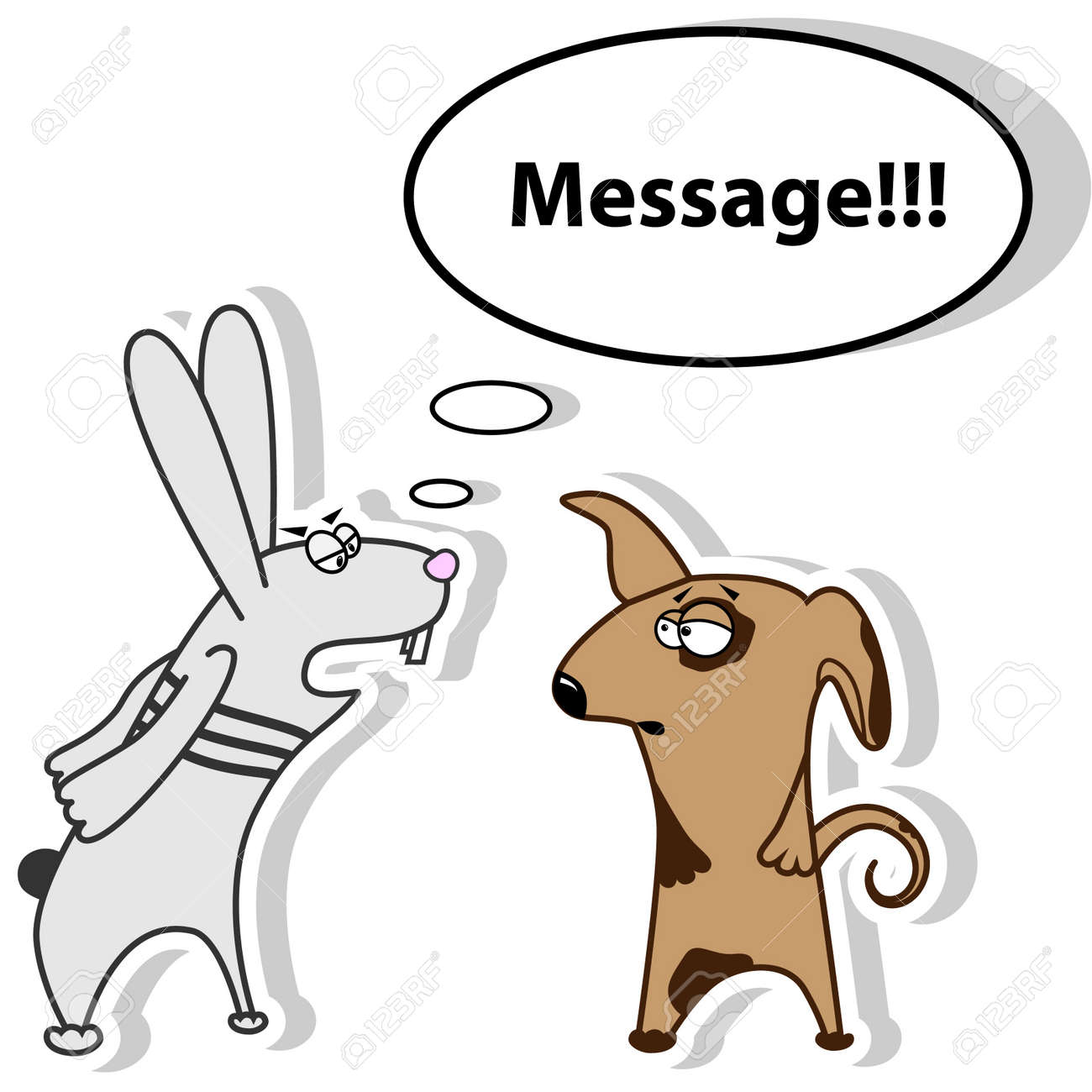 Vector picture with rabbit screaming to the dog Stock Vector - 9297310