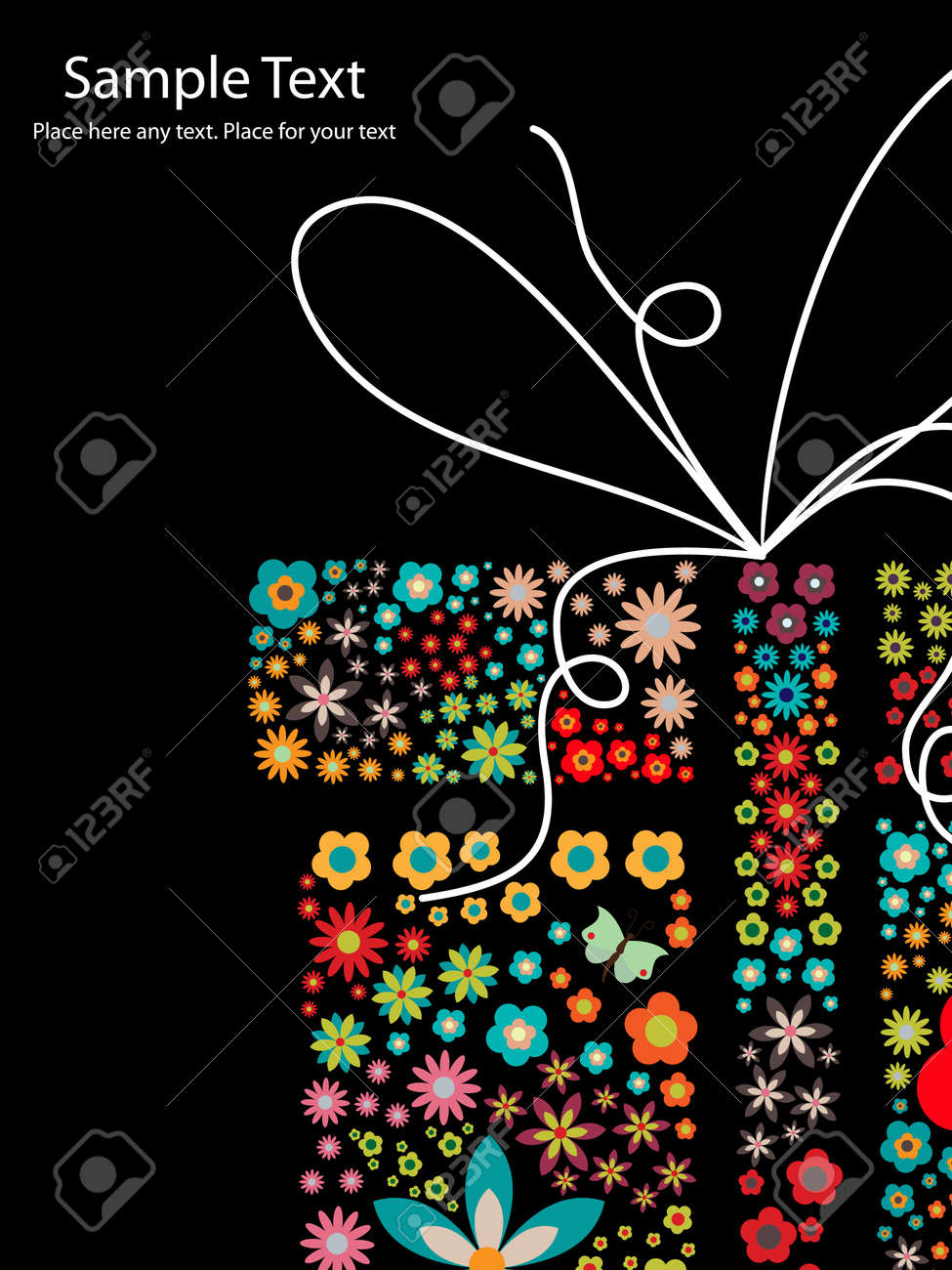 gift with small flowers Stock Vector - 9578996
