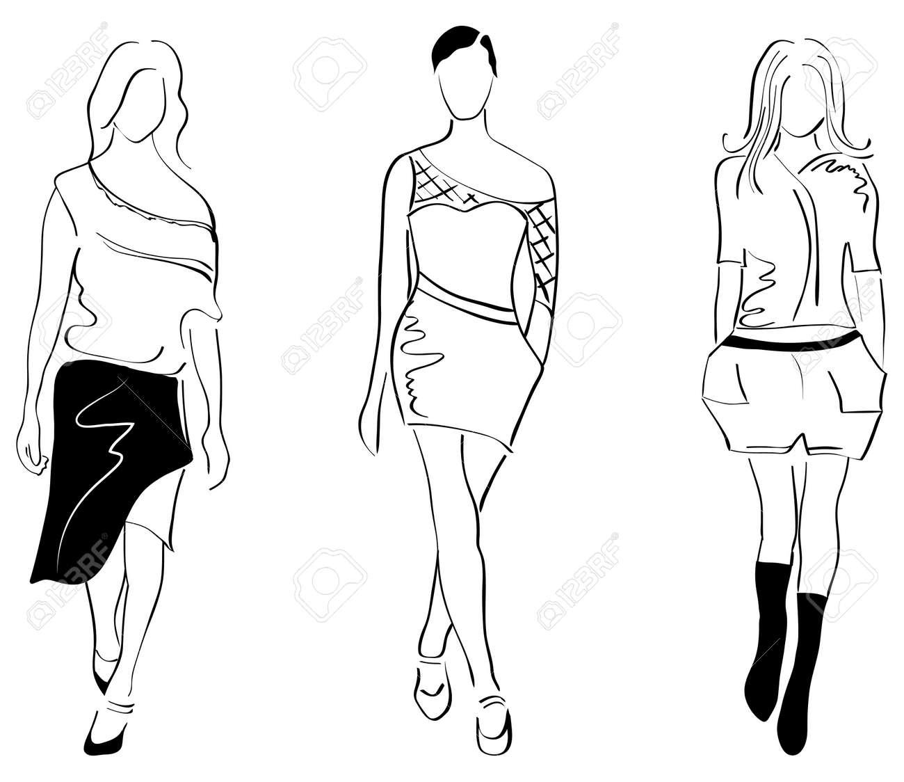 3 fashion girls Stock Vector - 9578982