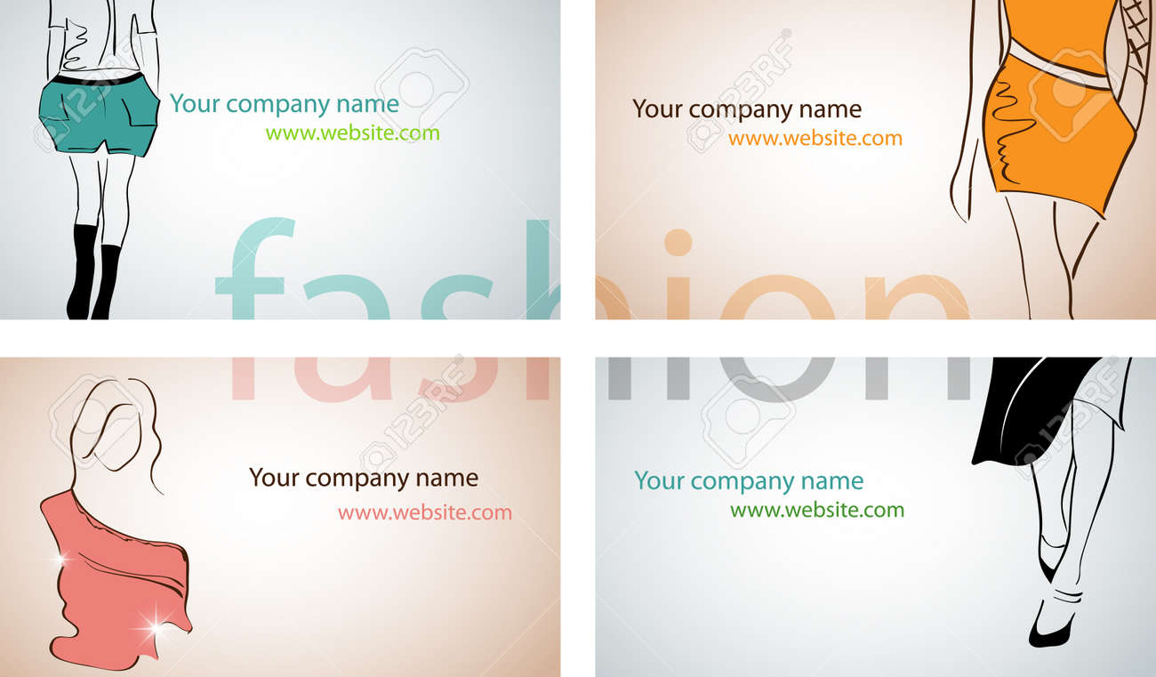 vector set with different fashion business cards royalty free