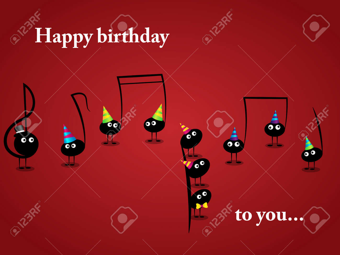 Vector Musical Greeting Card With Funny Notes Royalty Free Cliparts