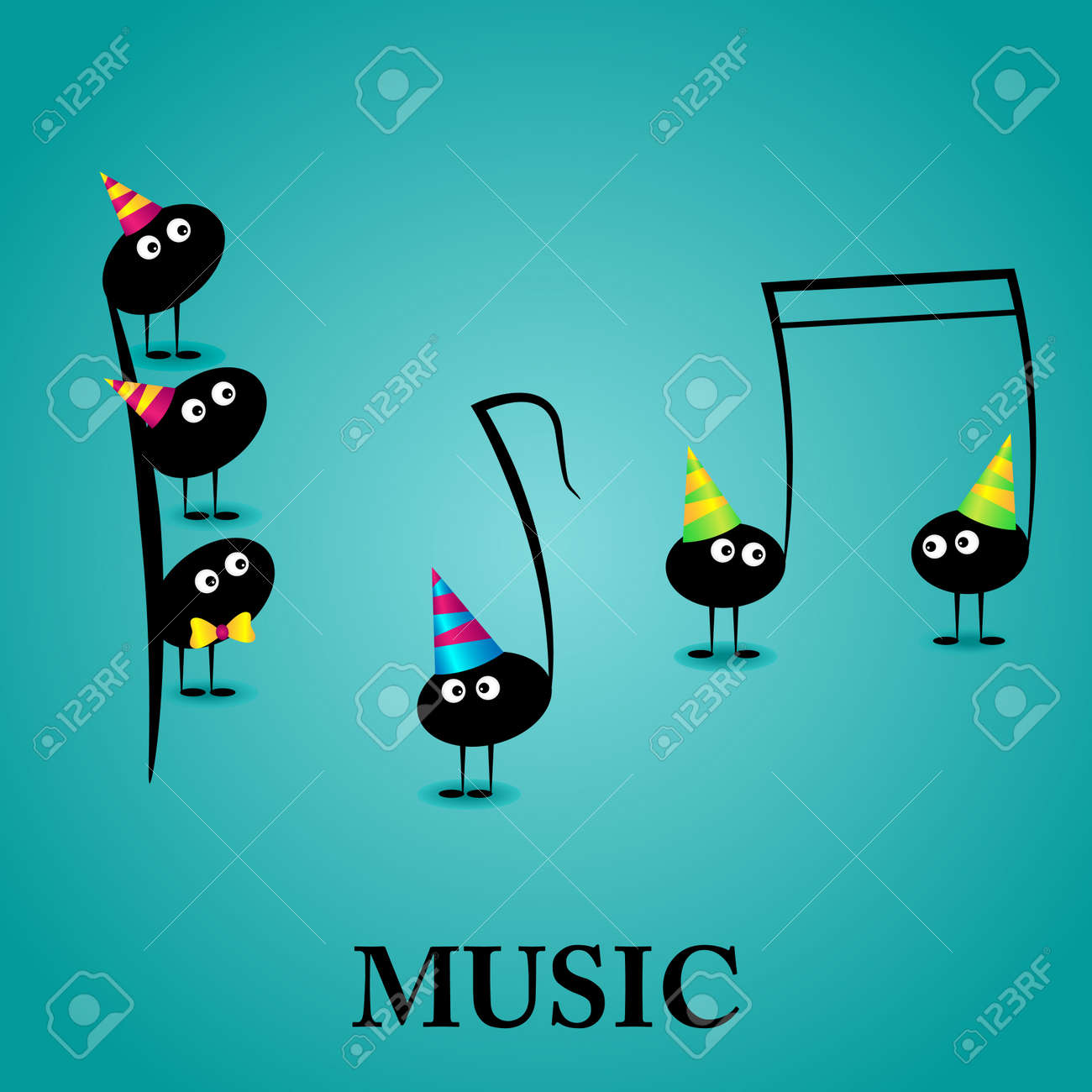 Vector Musical Greeting Card With Funny Notes Royalty Free – Funny Musical Birthday Cards