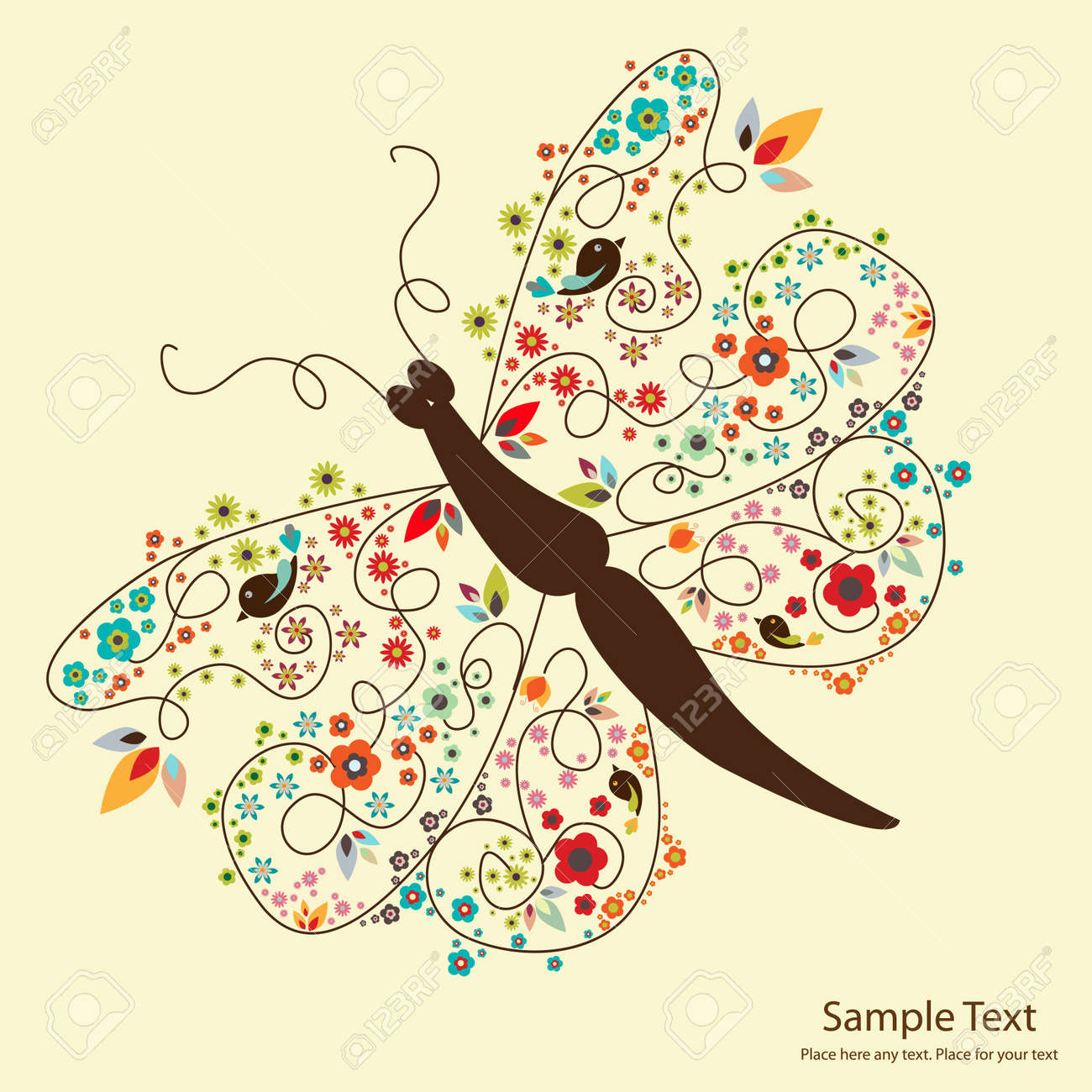 picture of cute butterfly with small flowers Stock Vector - 9879673
