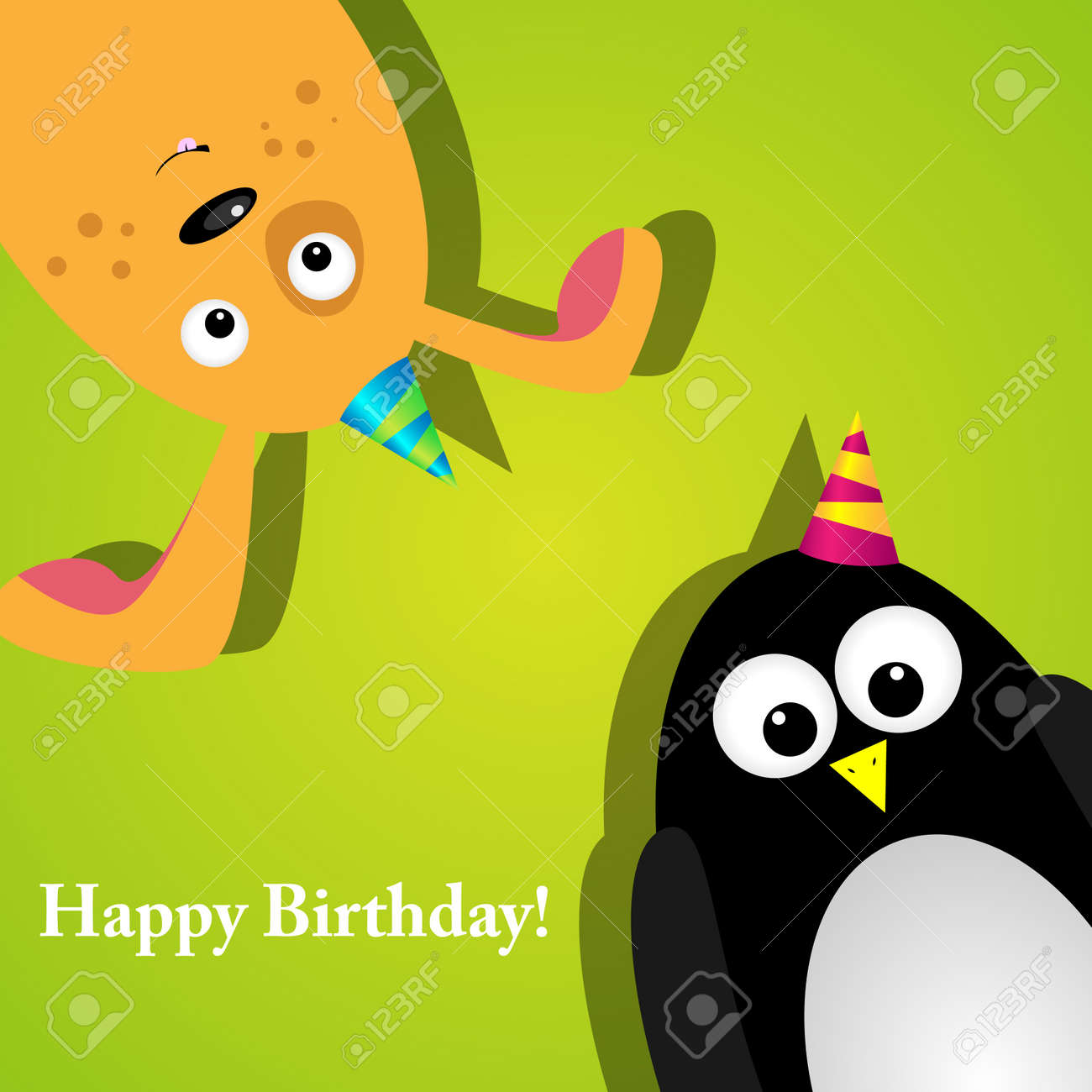 greeting card with a penguin and dog Stock Vector - 10059891
