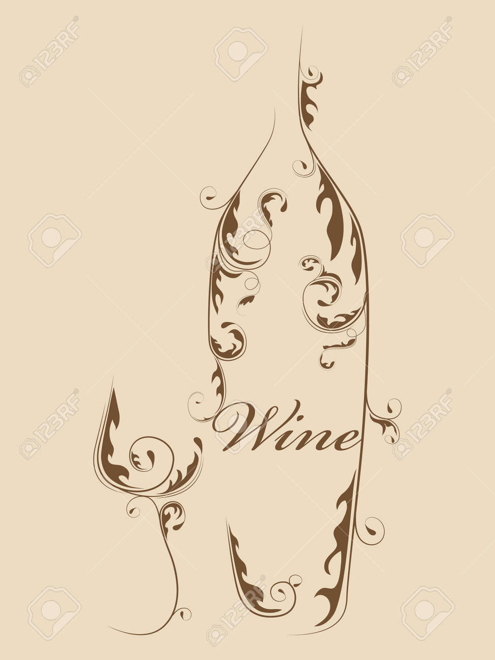 Abstract picture of wine bottle and wine glass Stock Vector - 10348538