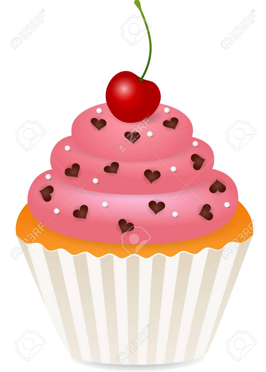 cupcake with cherry Stock Vector - 10691525