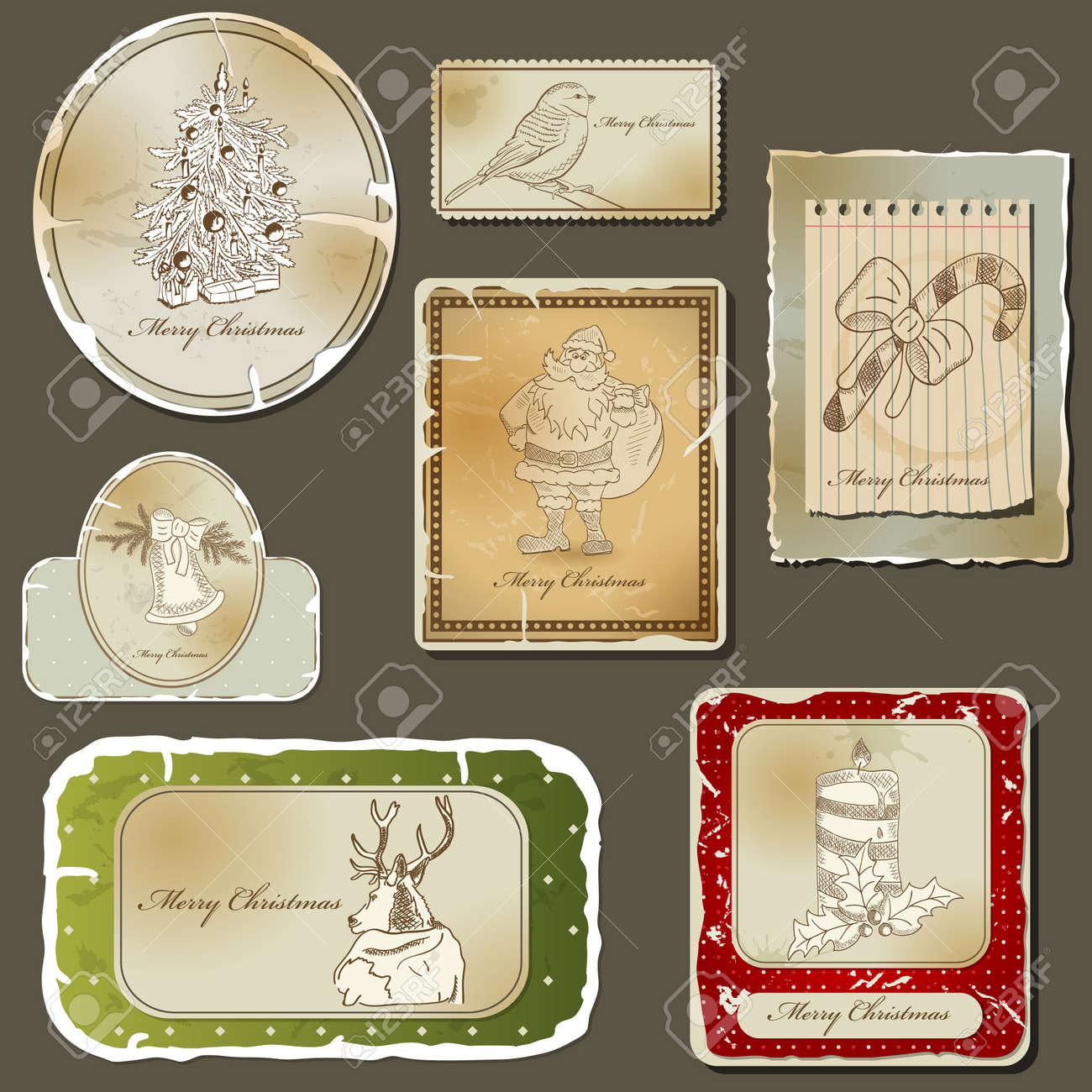 Vintage christmas label  and old paper set Stock Vector - 11475312