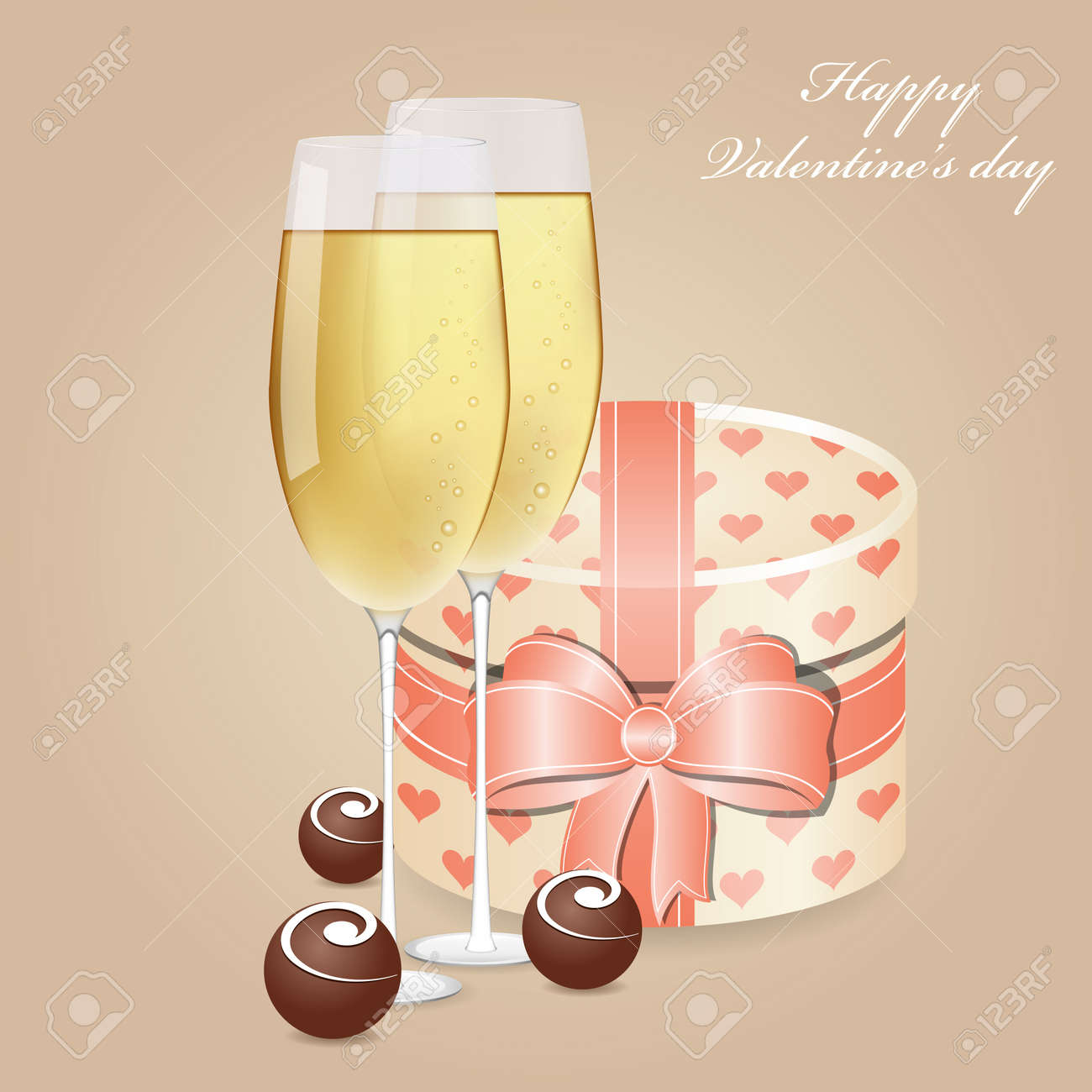 Greeting card with champagne and chocolate Stock Vector - 12055283