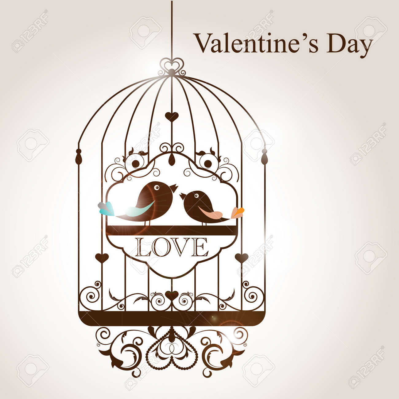 St Valentines Day Greeting Card With Birds Royalty Free Cliparts – Bird Valentine Card