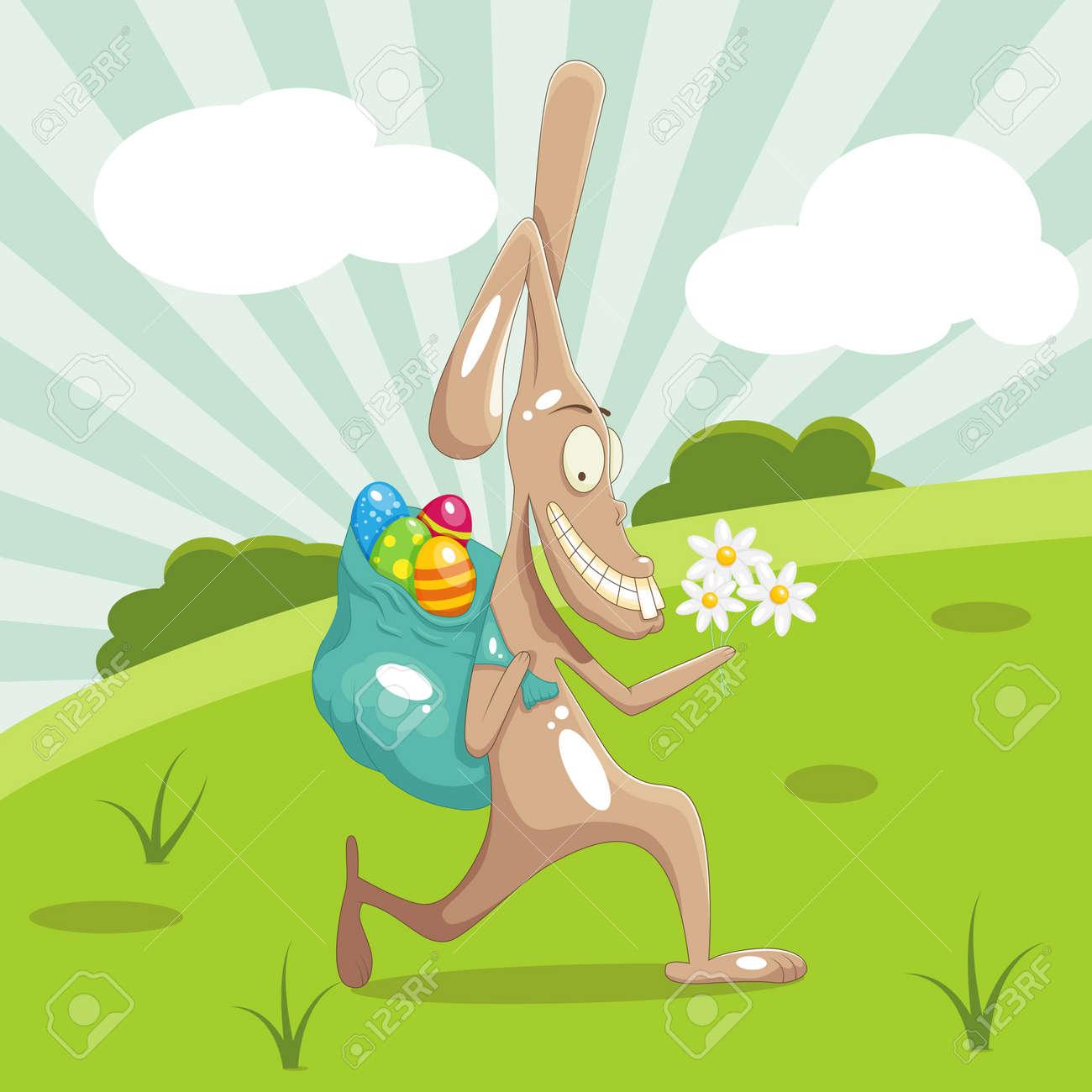 Funny rabbit stealing easter eggs Stock Vector - 12496697