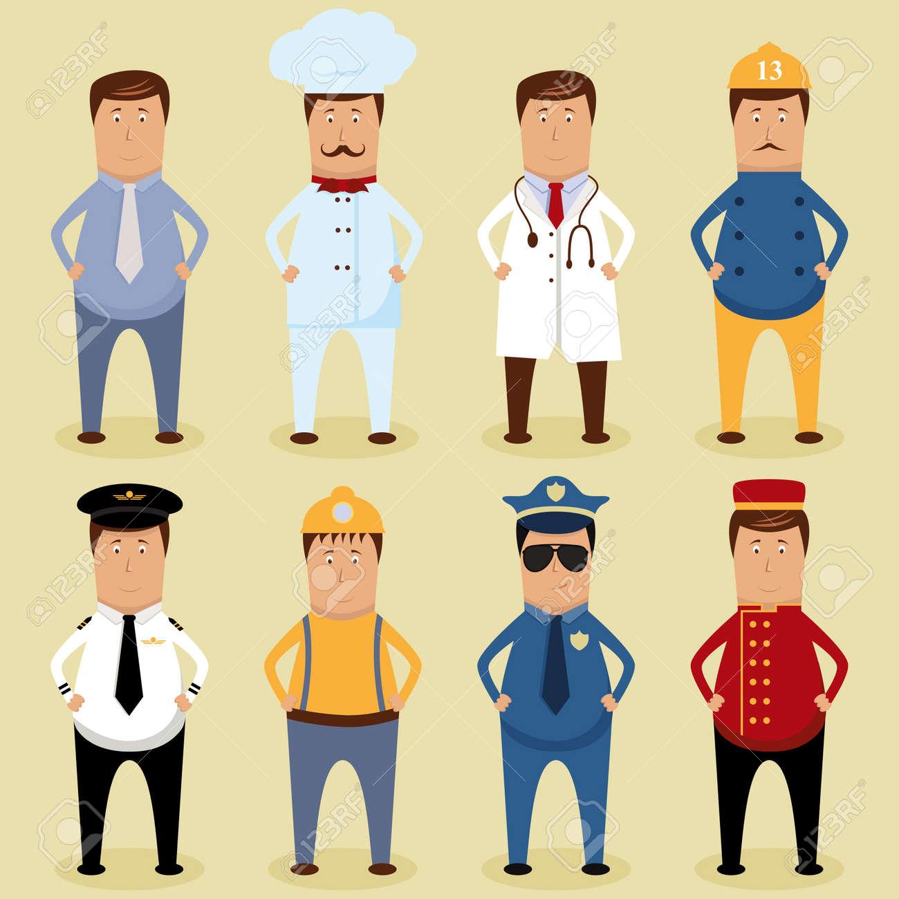 Vector worker set - ofice worker, chef, doctor, fireman, pilot, carpenter, policeman, porter - 12772578