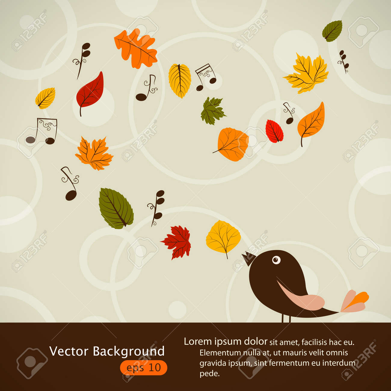 Vector picture with cute singing bird and autumn leaves Stock Vector - 14837093