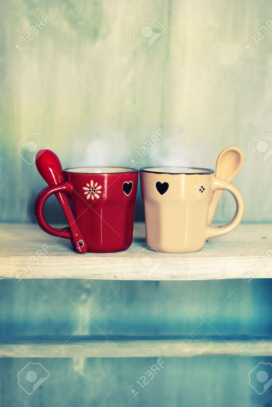 Retro Photo Of Two Cute Coffee Cups Stock Photo Picture And Royalty Free Image Image 17663555