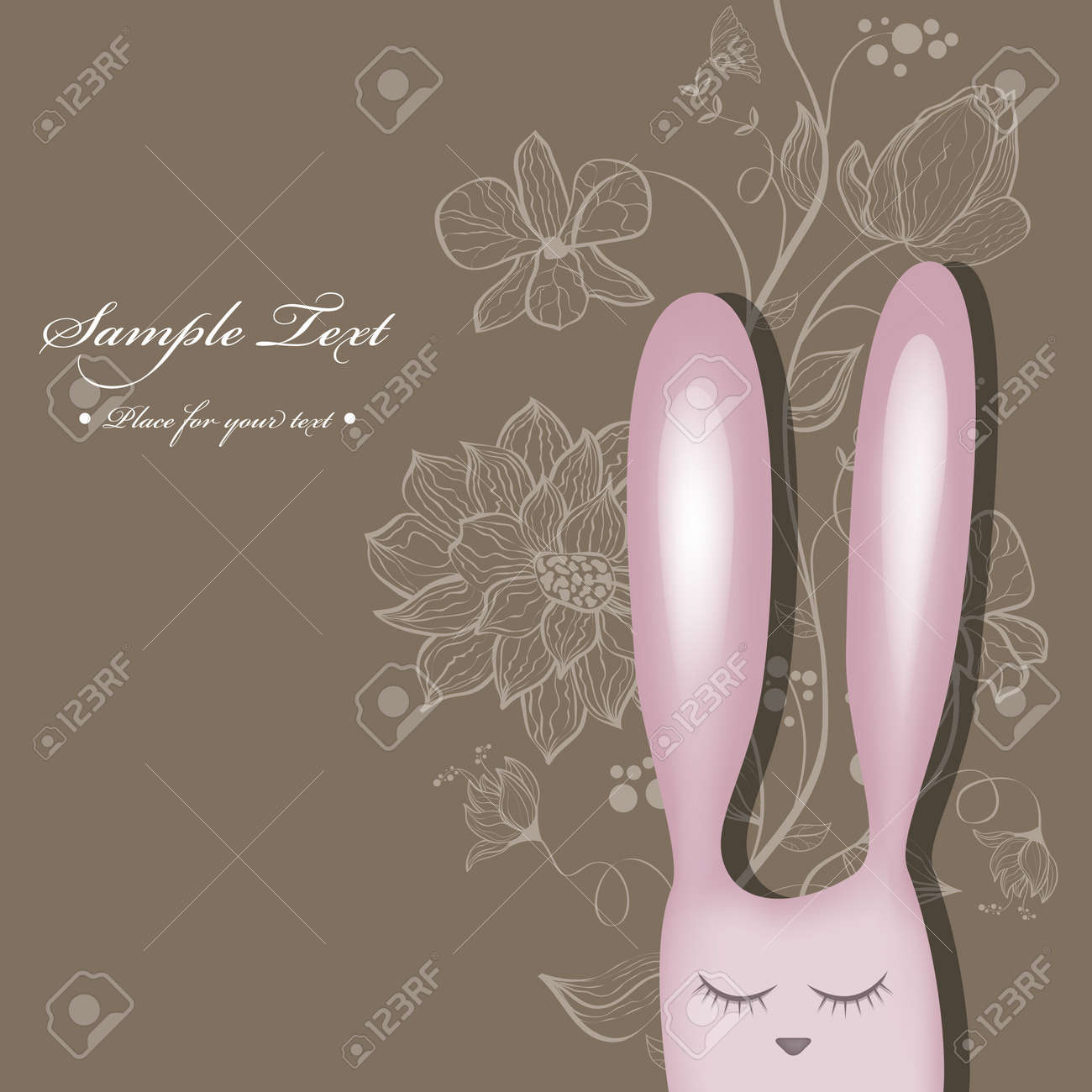 Vector greeting card with pink rabbit Stock Vector - 18540013
