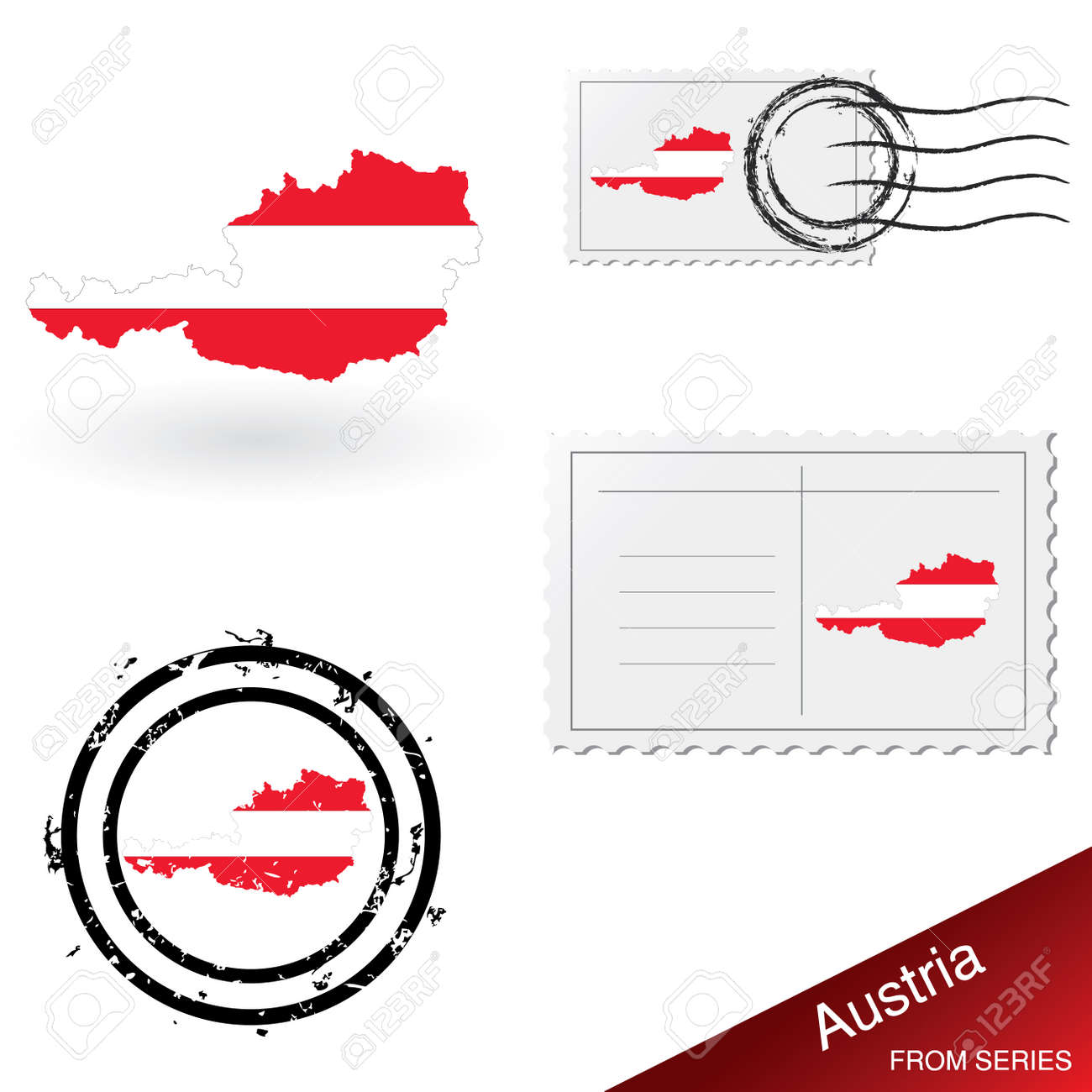 Austria map, stamps and postcard set from series Stock Vector - 4921230