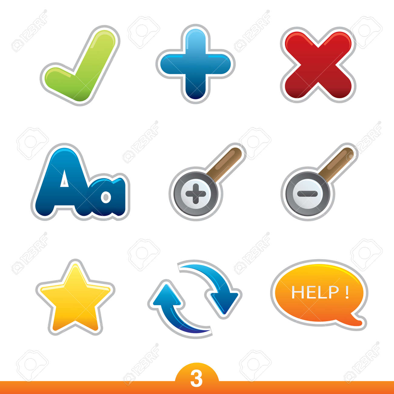 Icon sticker series 3 - web universal Stock Vector - 6474963