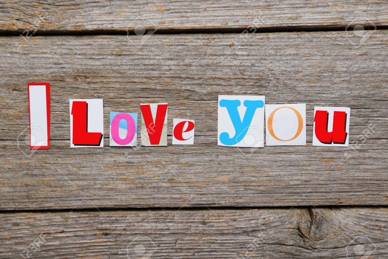 The Words I Love You In Cut Out Magazine Letters Stock