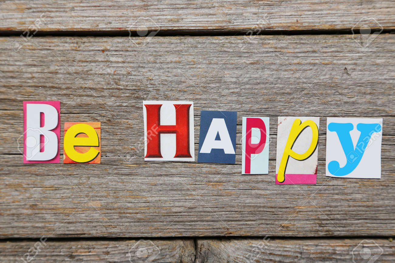 The word be happy in cut out magazine letters stock photo picture stock photo the word be happy in cut out magazine letters spiritdancerdesigns Images