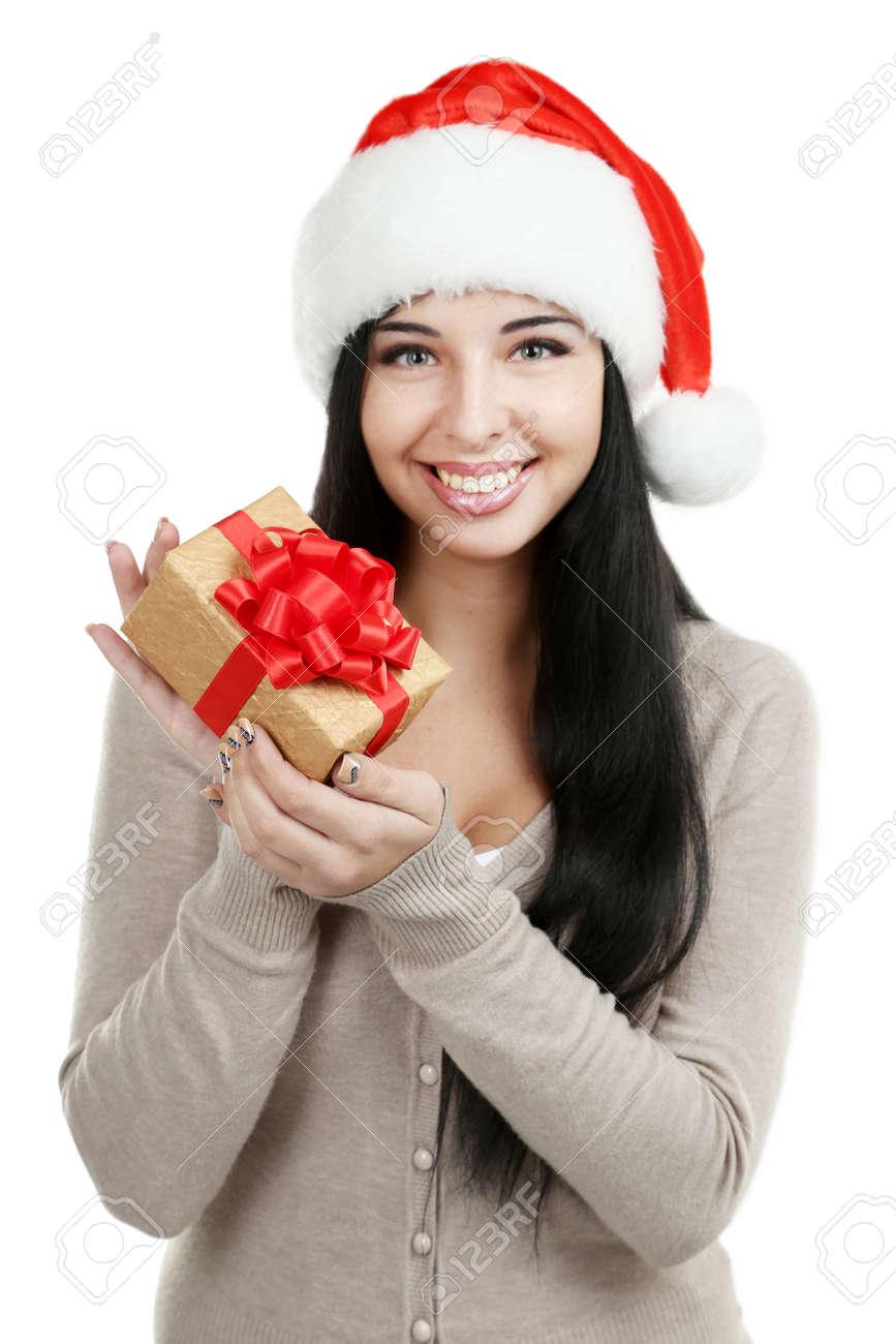Schöne Frau Im Weihnachtshut Mit Weihnachtsgeschenk Lizenzfreie ...