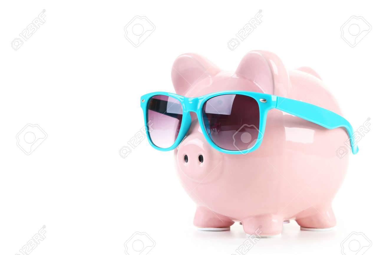 Pink piggy bank with glasses isolated on a white - 42813365