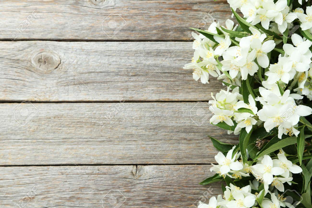 White flowers of jasmine on grey wooden background - 42813265