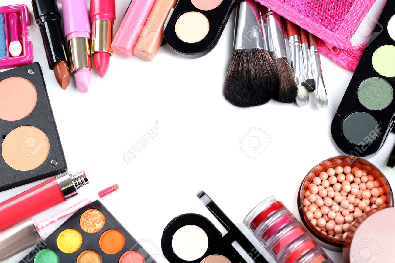 Makeup brush and cosmetics on a white background - 46166607