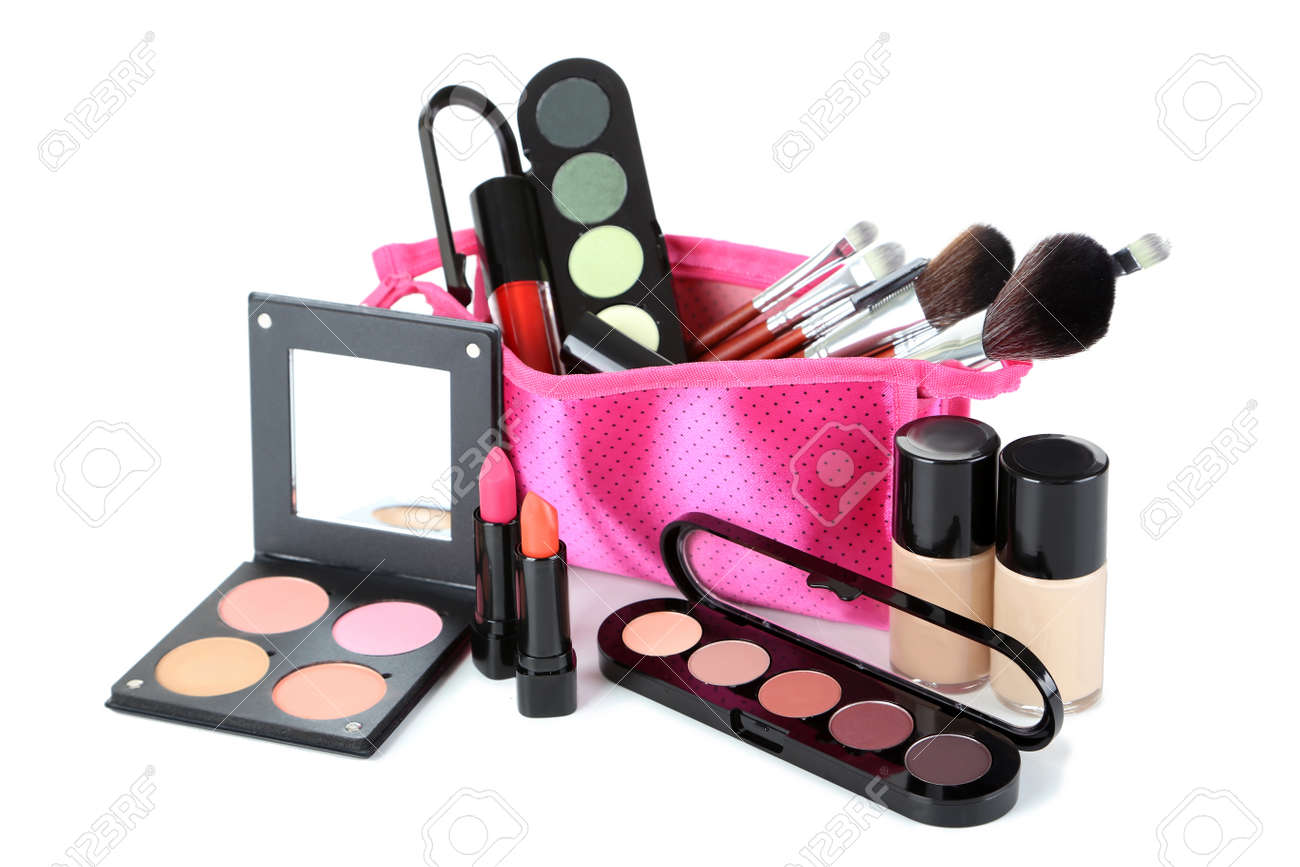 Makeup brush and cosmetics isolated on a white - 47252652