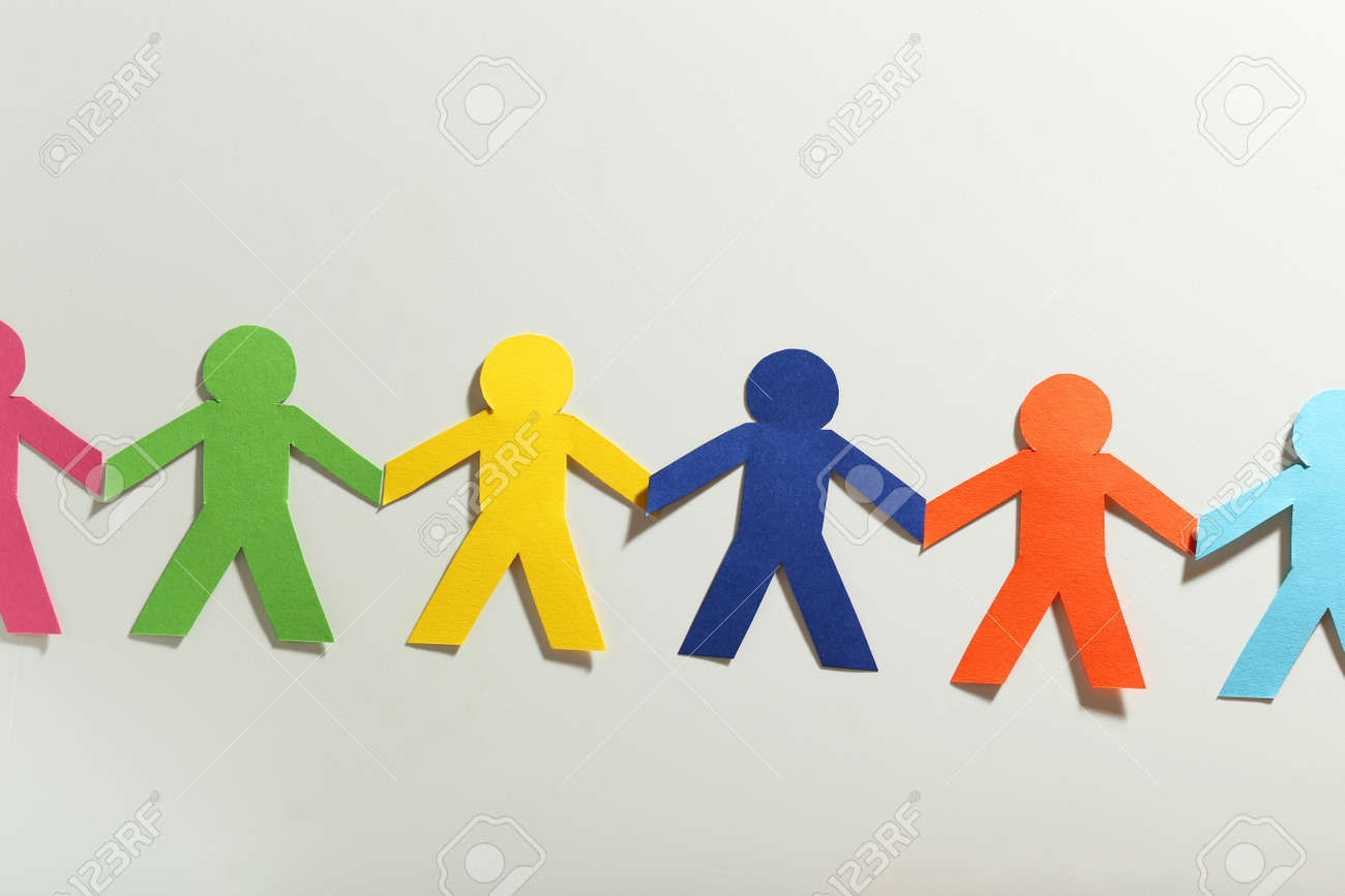 Paper people on the white background - 47899689
