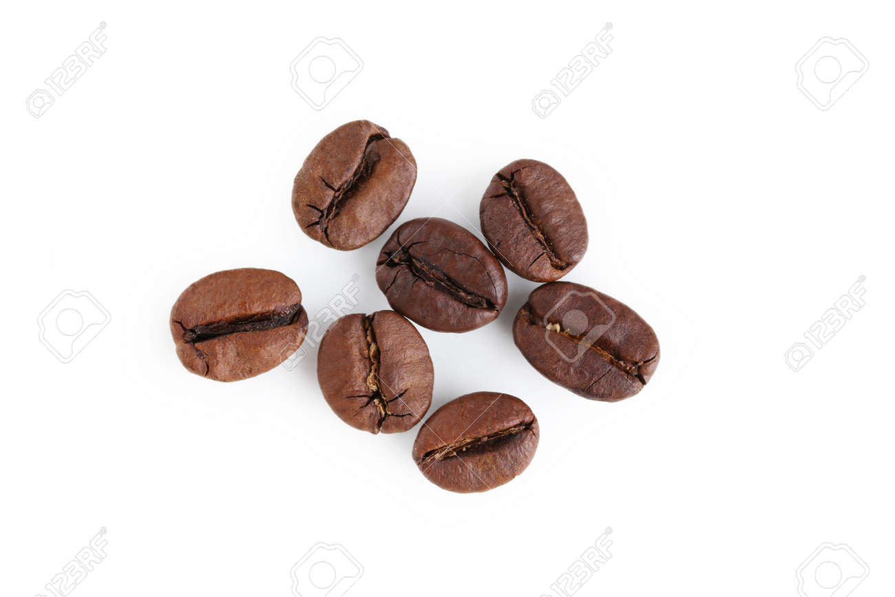 Roasted coffee beans isolated on a white - 48640030