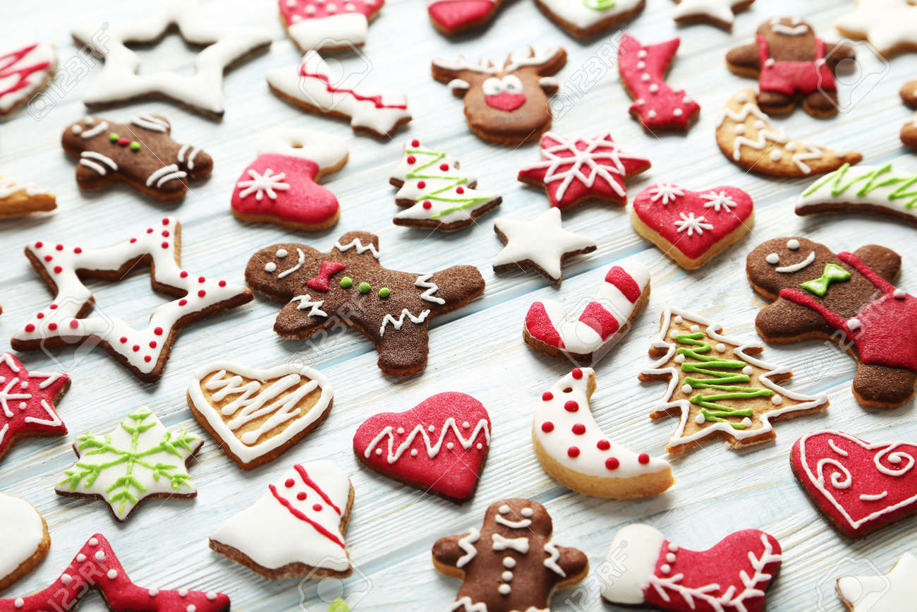 Christmas cookies on a blue wooden table - 49304966