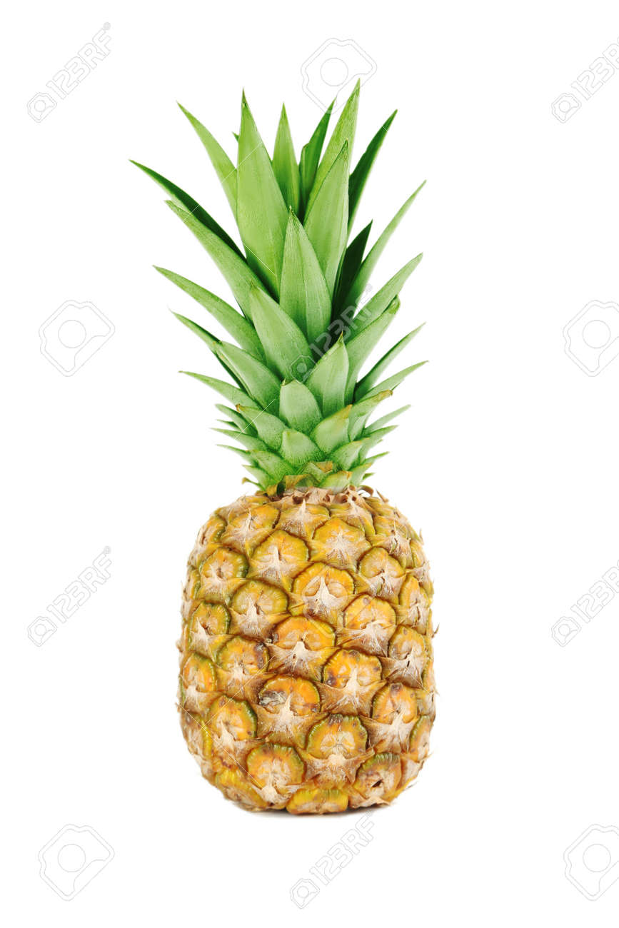 Ripe pineapple isolated on a white - 51102108