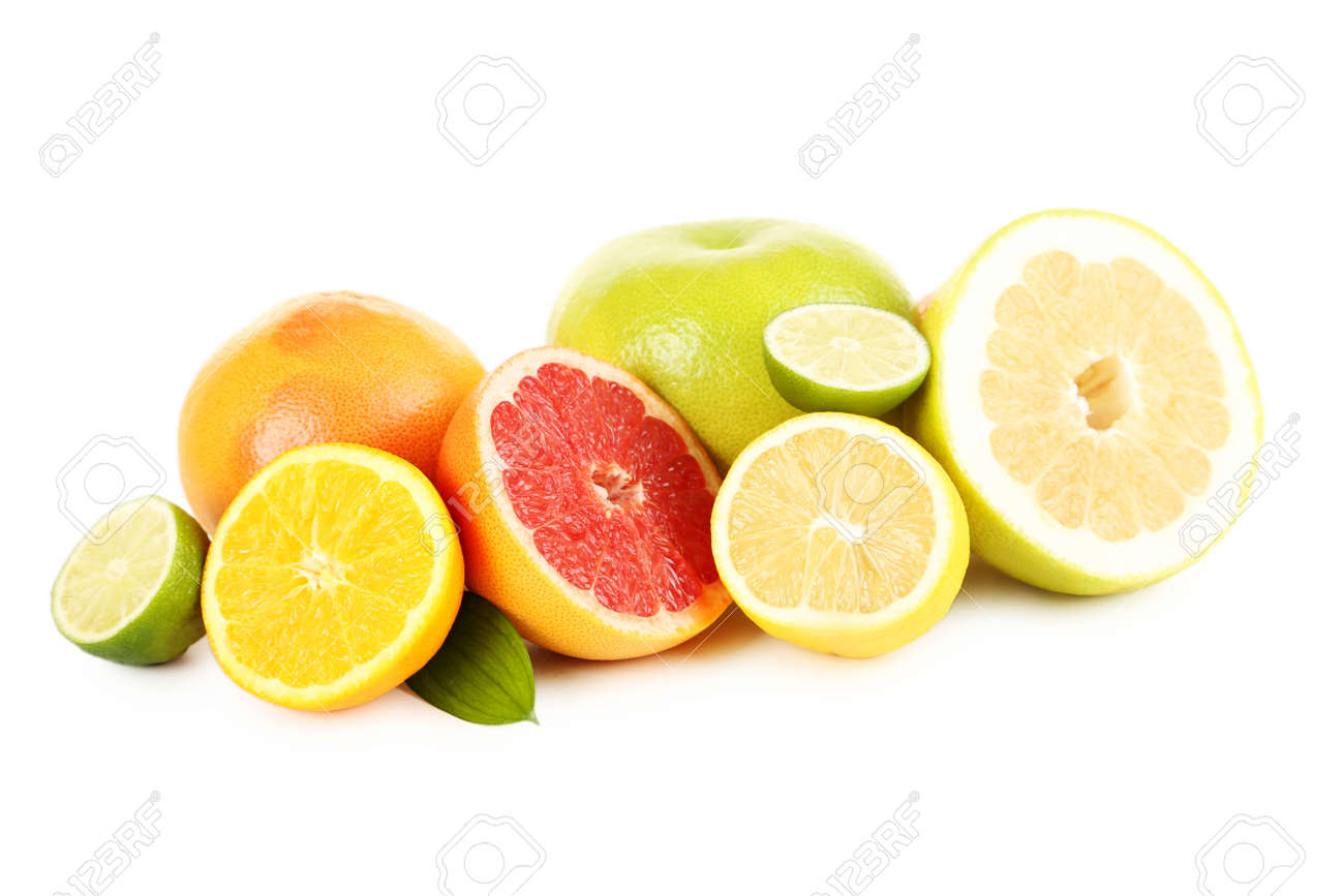 Citrus fruits on a white background - 51479219