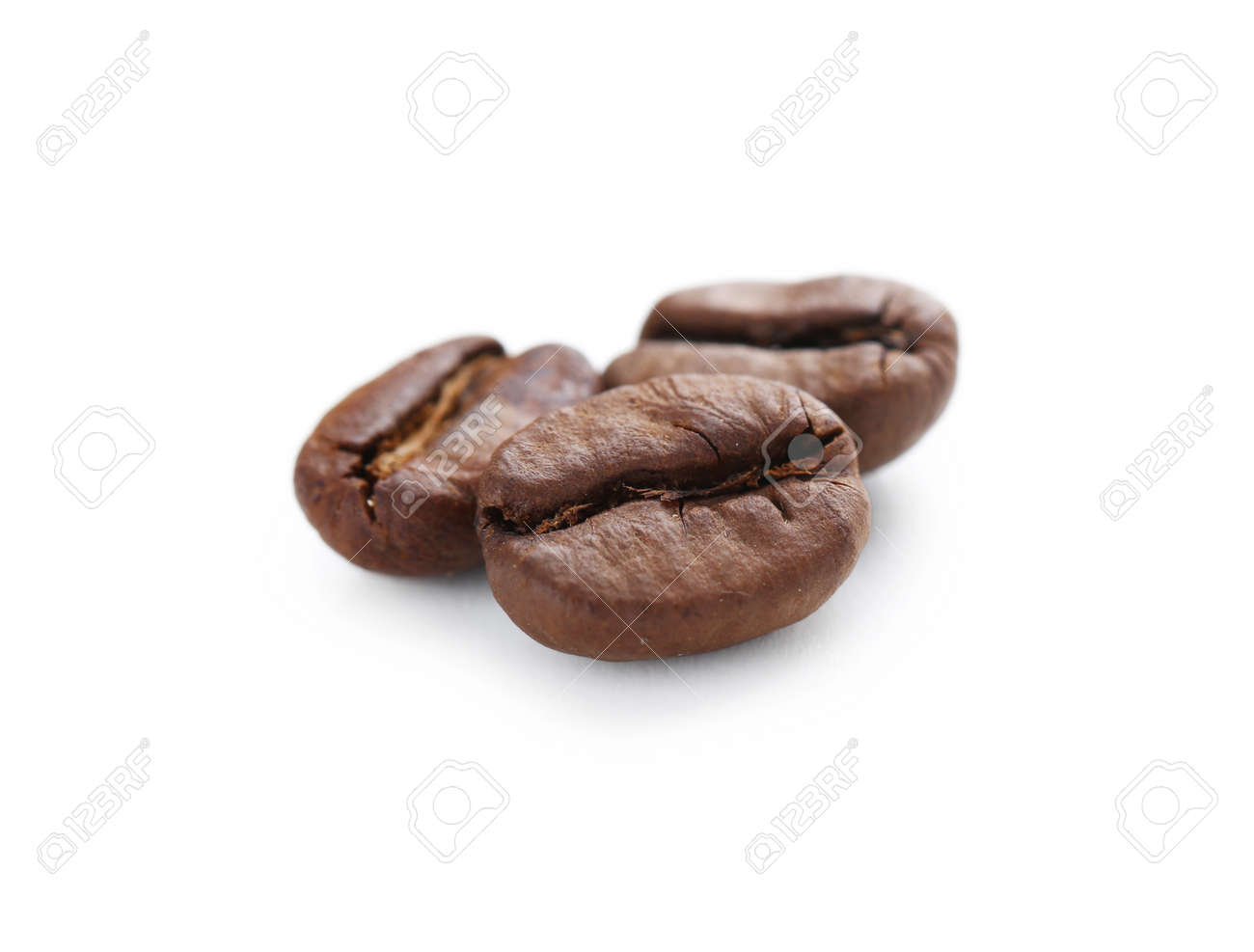 Roasted coffee beans isolated on a white - 58477169