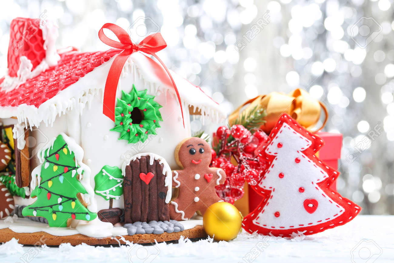 Christmas Gingerbread House Background.Christmas Gingerbread House On Lights Background